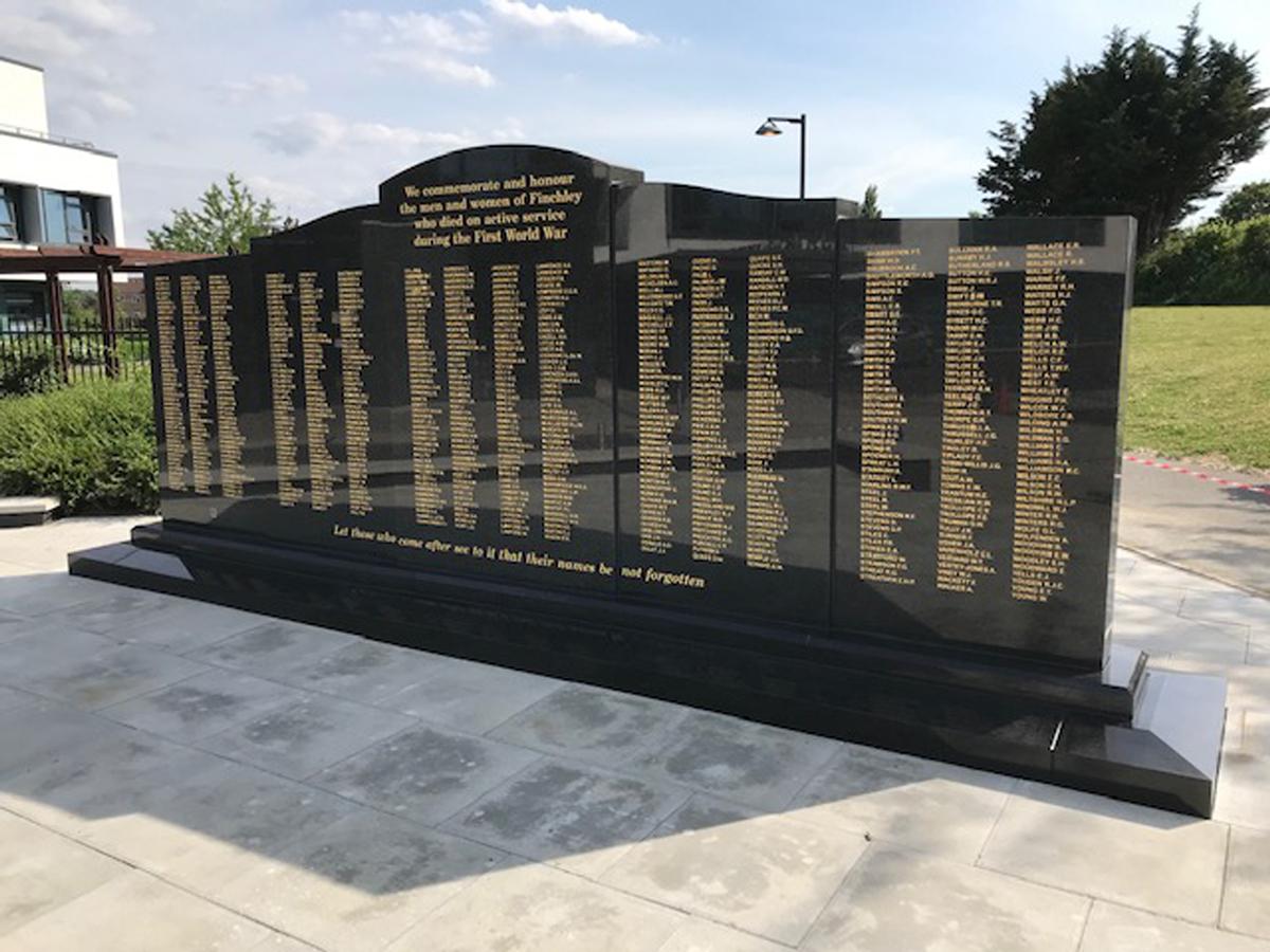 Barnet War Memorials Association - Completed memorial