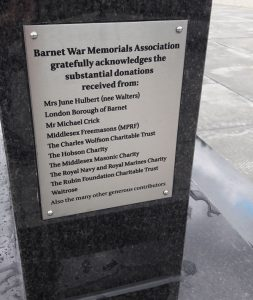 Finchley War Memorial - Donor Plaque